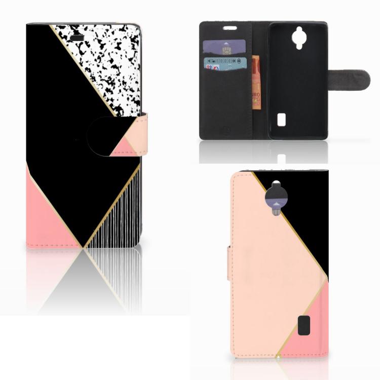 Huawei Y635 Bookcase Zwart Roze Vormen