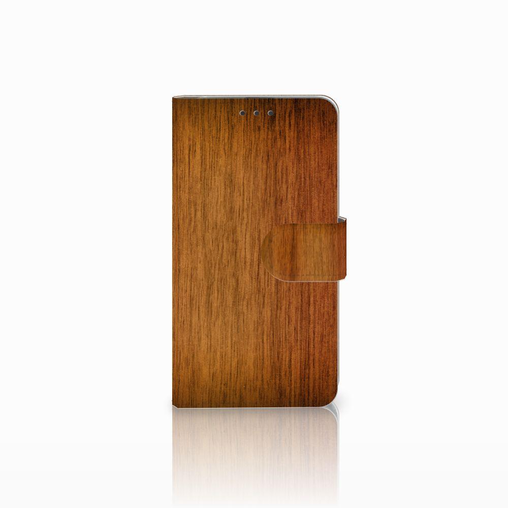 Microsoft Lumia 640 Uniek Boekhoesje Donker Hout