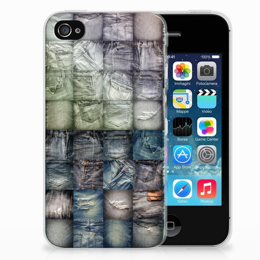 Silicone Back Cover Apple iPhone 4   4s Spijkerbroeken