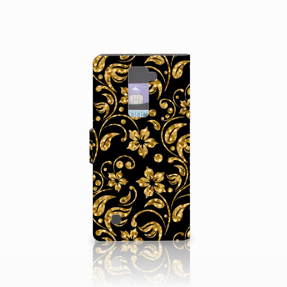 LG K10 2015 Hoesje Gouden Bloemen