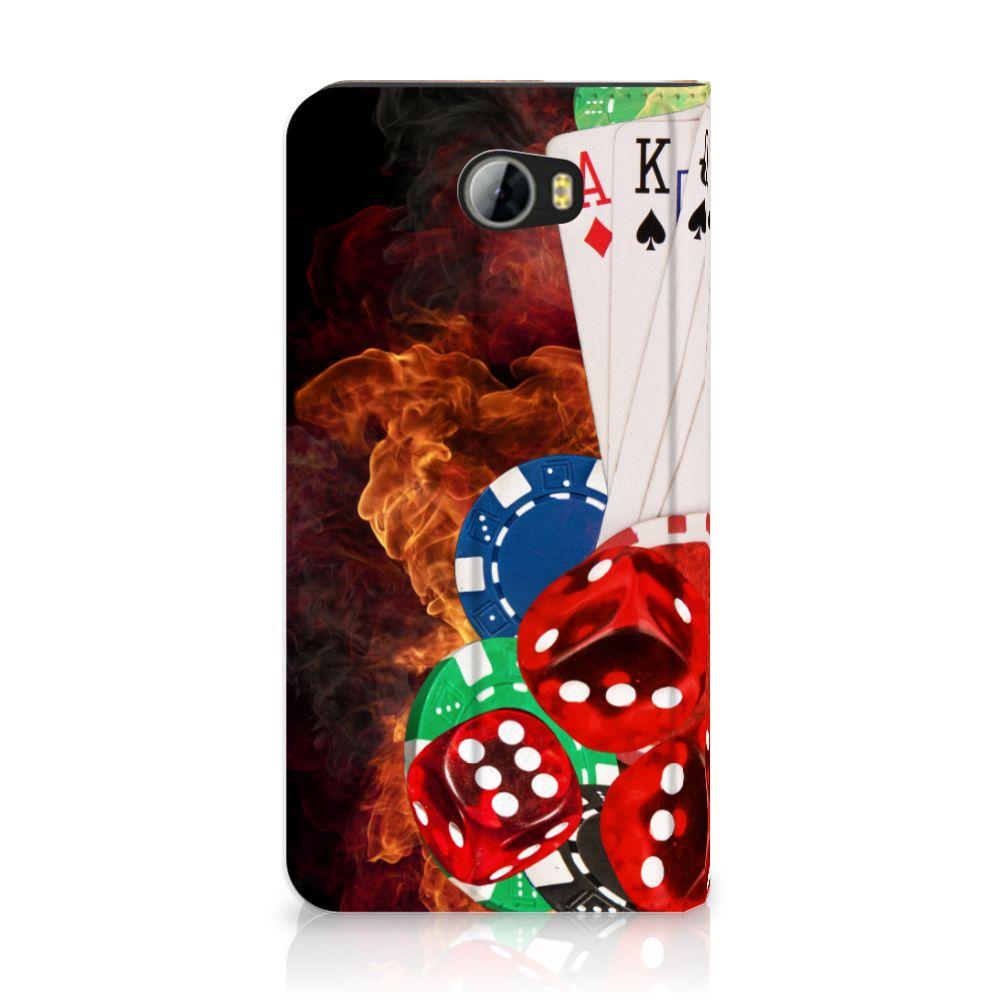 Huawei Y5 2 | Y6 Compact Uniek Standcase Hoesje Casino