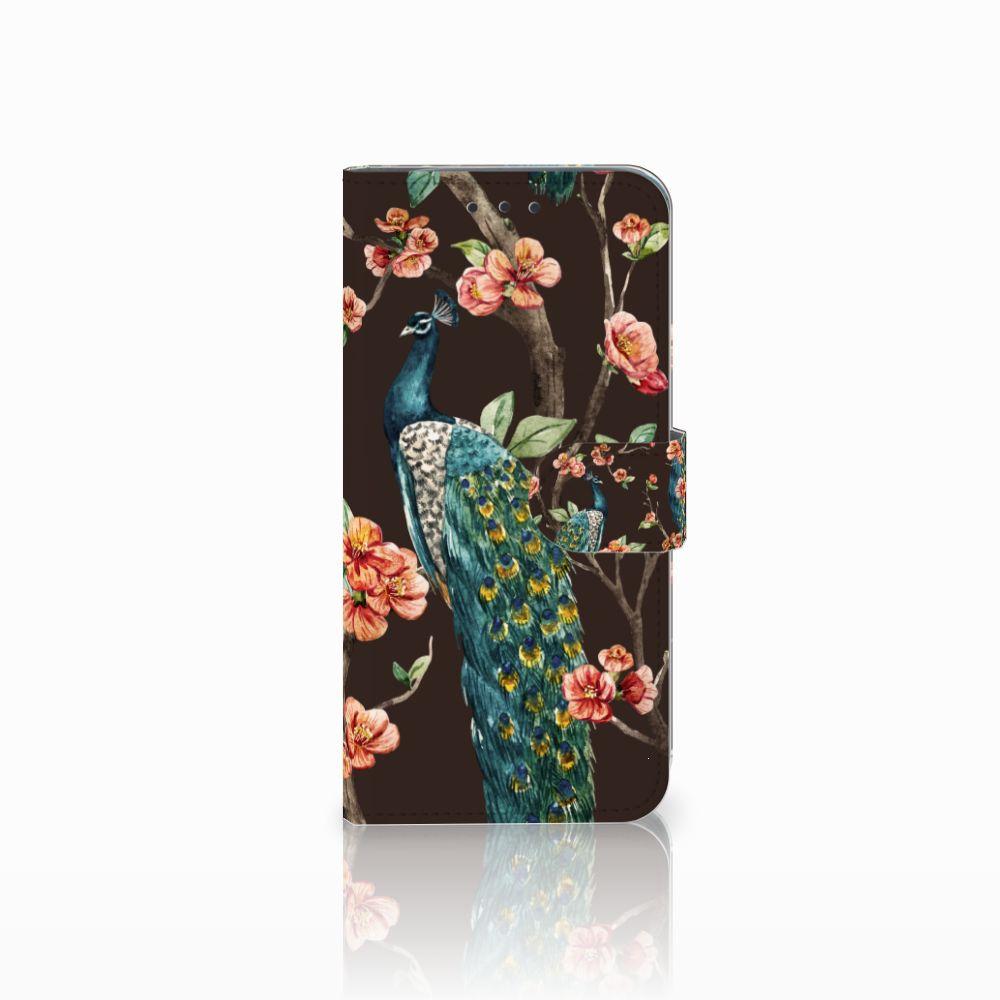 Motorola Moto G6 Play Boekhoesje Design Pauw met Bloemen