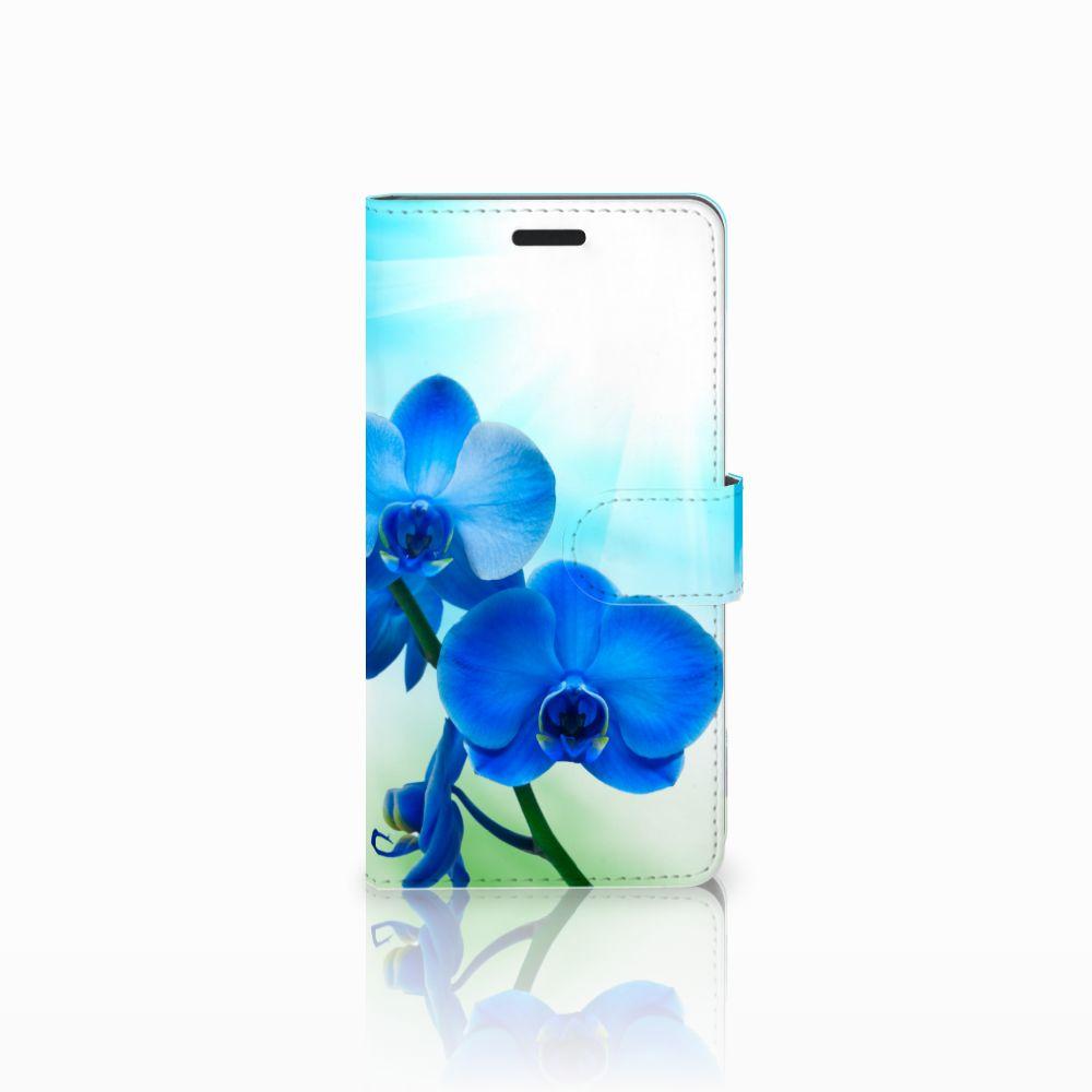 Samsung Galaxy A7 2015 Boekhoesje Design Orchidee Blauw
