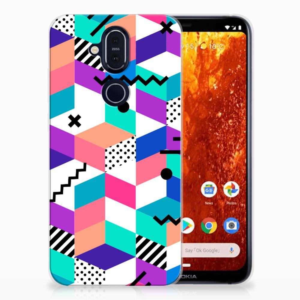Nokia 8.1 TPU Hoesje Blokken Kleurrijk