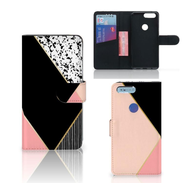 OnePlus 5T Bookcase Zwart Roze Vormen