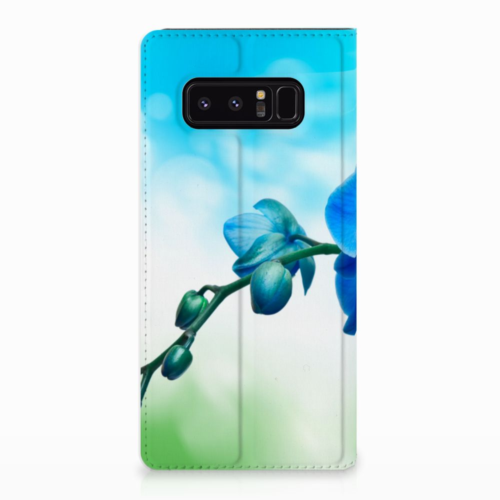 Samsung Galaxy Note 8 Standcase Hoesje Design Orchidee Blauw