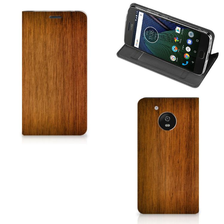 Motorola Moto G5 Book Wallet Case Donker Hout