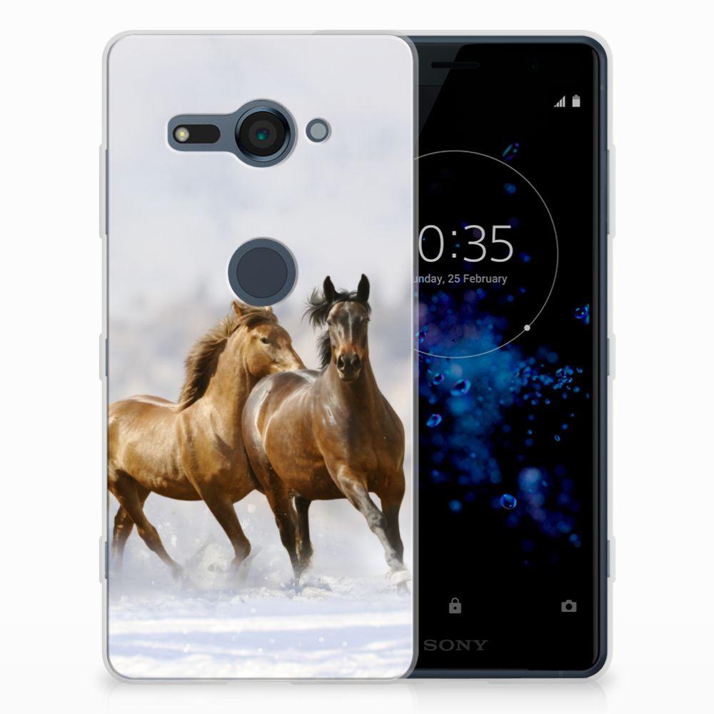 Sony Xperia XZ2 Compact Uniek TPU Hoesje Paarden