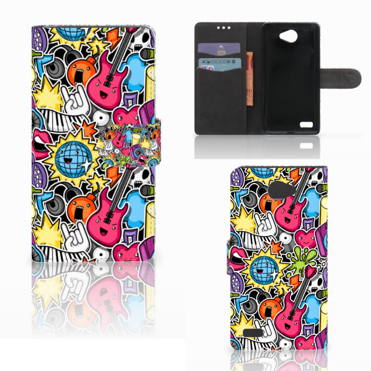 LG Bello 2 Wallet Case met Pasjes Punk Rock