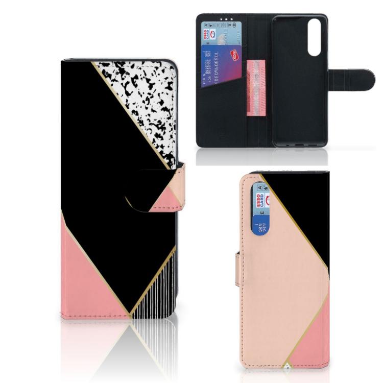 Sony Xperia 5 Bookcase Zwart Roze Vormen