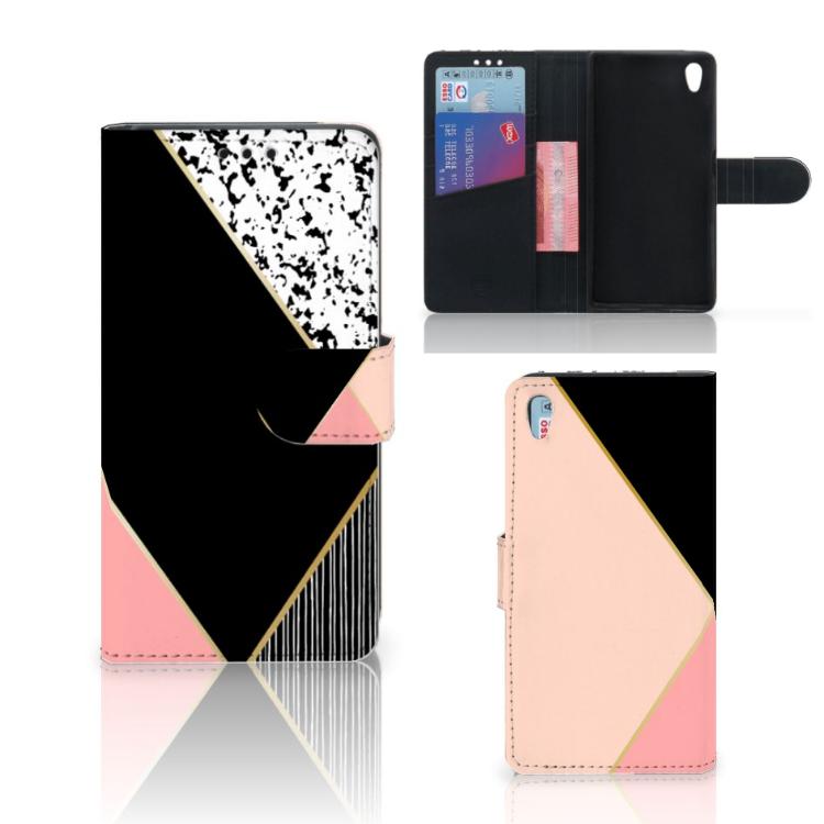 Sony Xperia Z5 | Z5 Dual Bookcase Zwart Roze Vormen