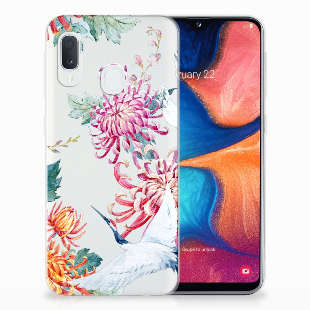Samsung Galaxy A20e TPU Hoesje Bird Flowers