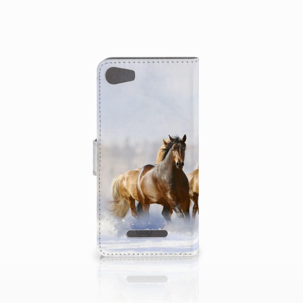 Wiko Lenny 2 Telefoonhoesje met Pasjes Paarden