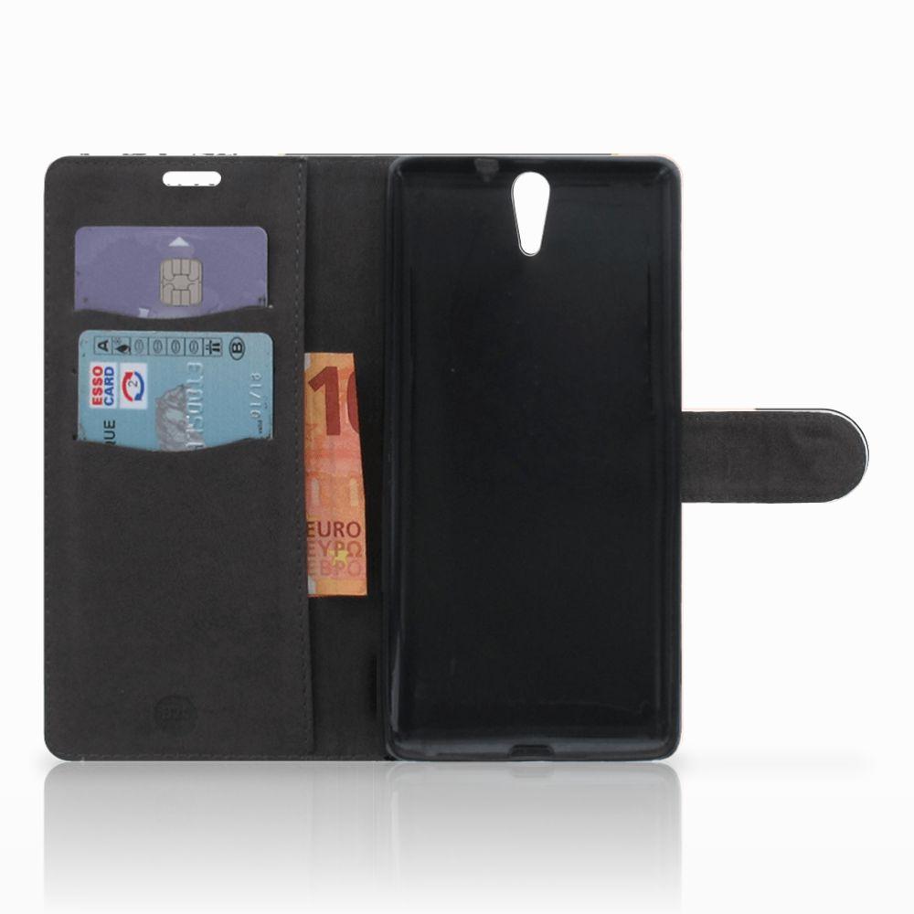 Sony Xperia C5 Ultra Bookcase Zwart Roze Vormen