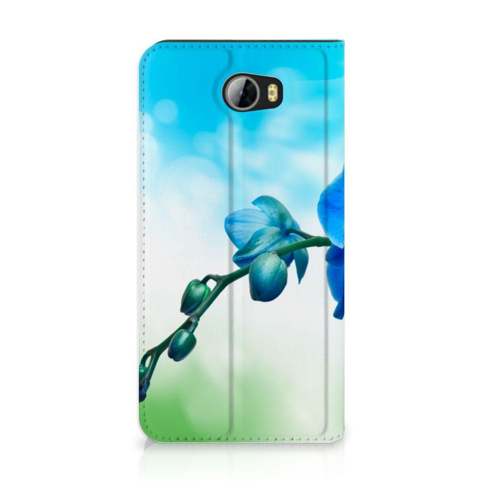 Huawei Y5 2 | Y6 Compact Standcase Hoesje Design Orchidee Blauw