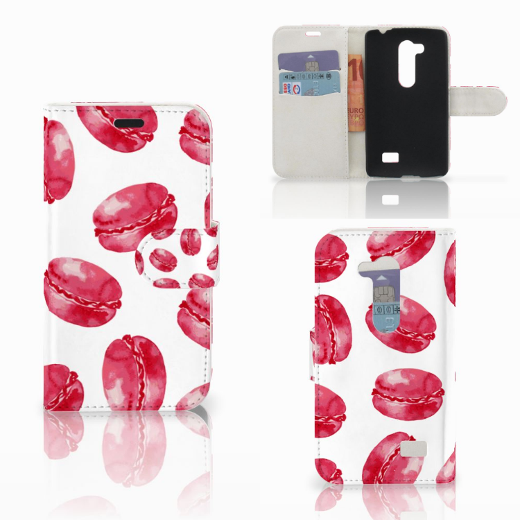 LG L Fino Book Cover Pink Macarons