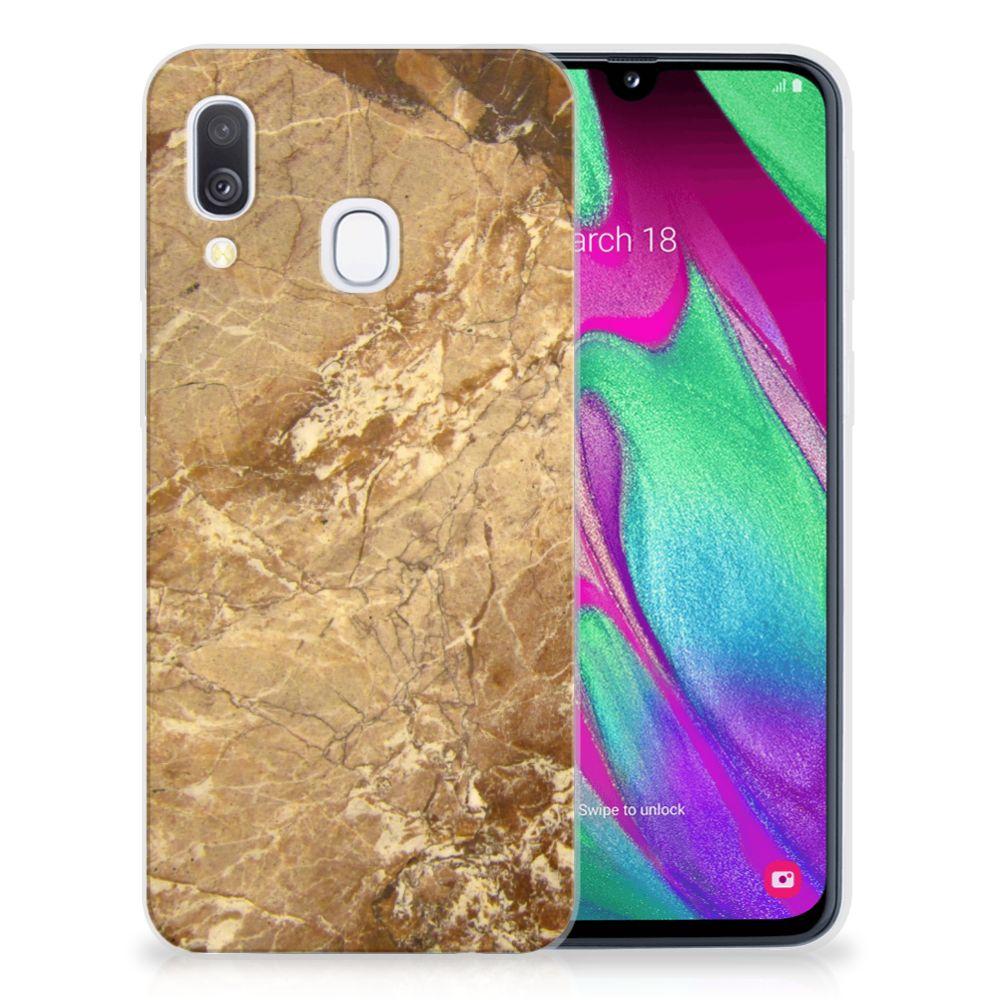 Samsung Galaxy A40 TPU Siliconen Hoesje Marmer Creme