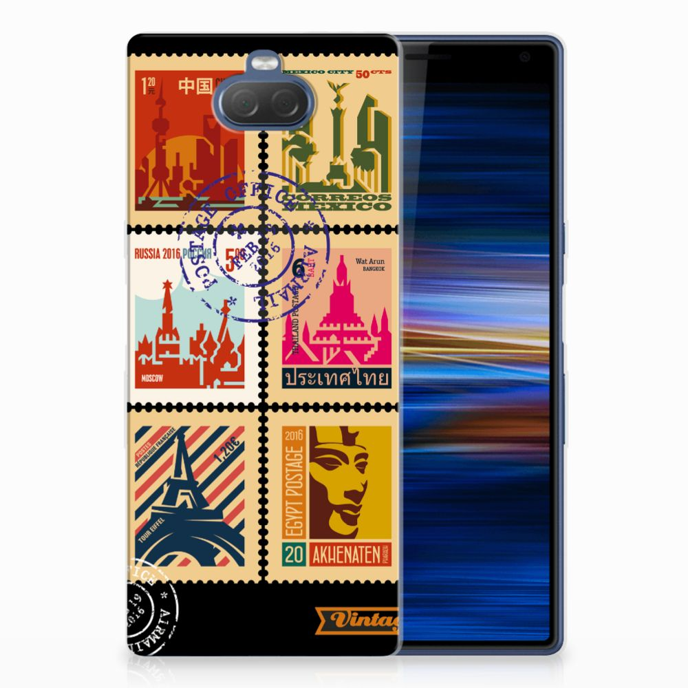 Sony Xperia 10 Plus Uniek TPU Hoesje Postzegels