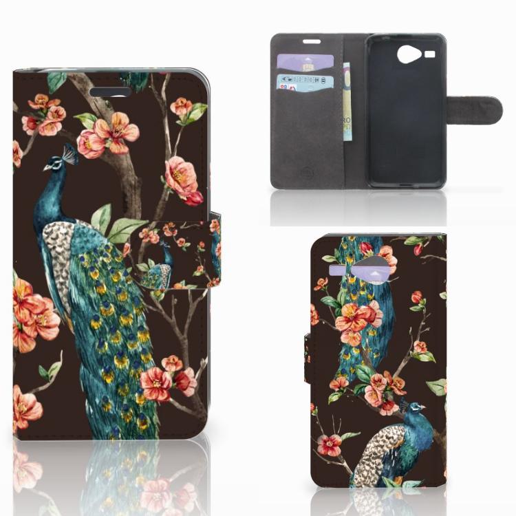 Acer Liquid Z520 Telefoonhoesje met Pasjes Pauw met Bloemen