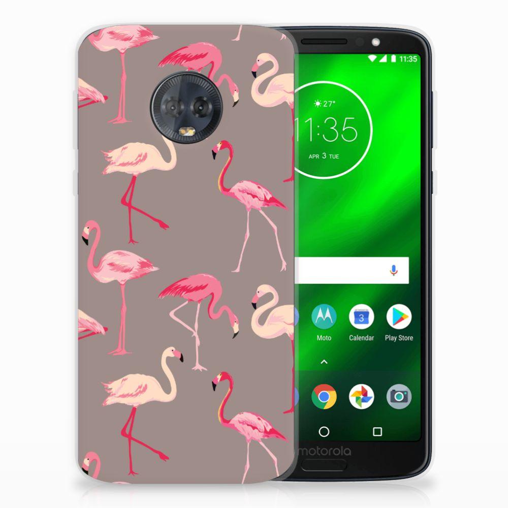 Motorola Moto G6 Plus Uniek TPU Hoesje Flamingo