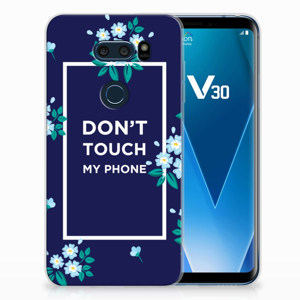 LG V30 TPU Hoesje Flowers Blue DTMP