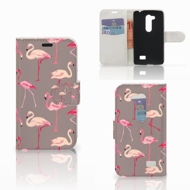 LG L Fino Telefoonhoesje met Pasjes Flamingo