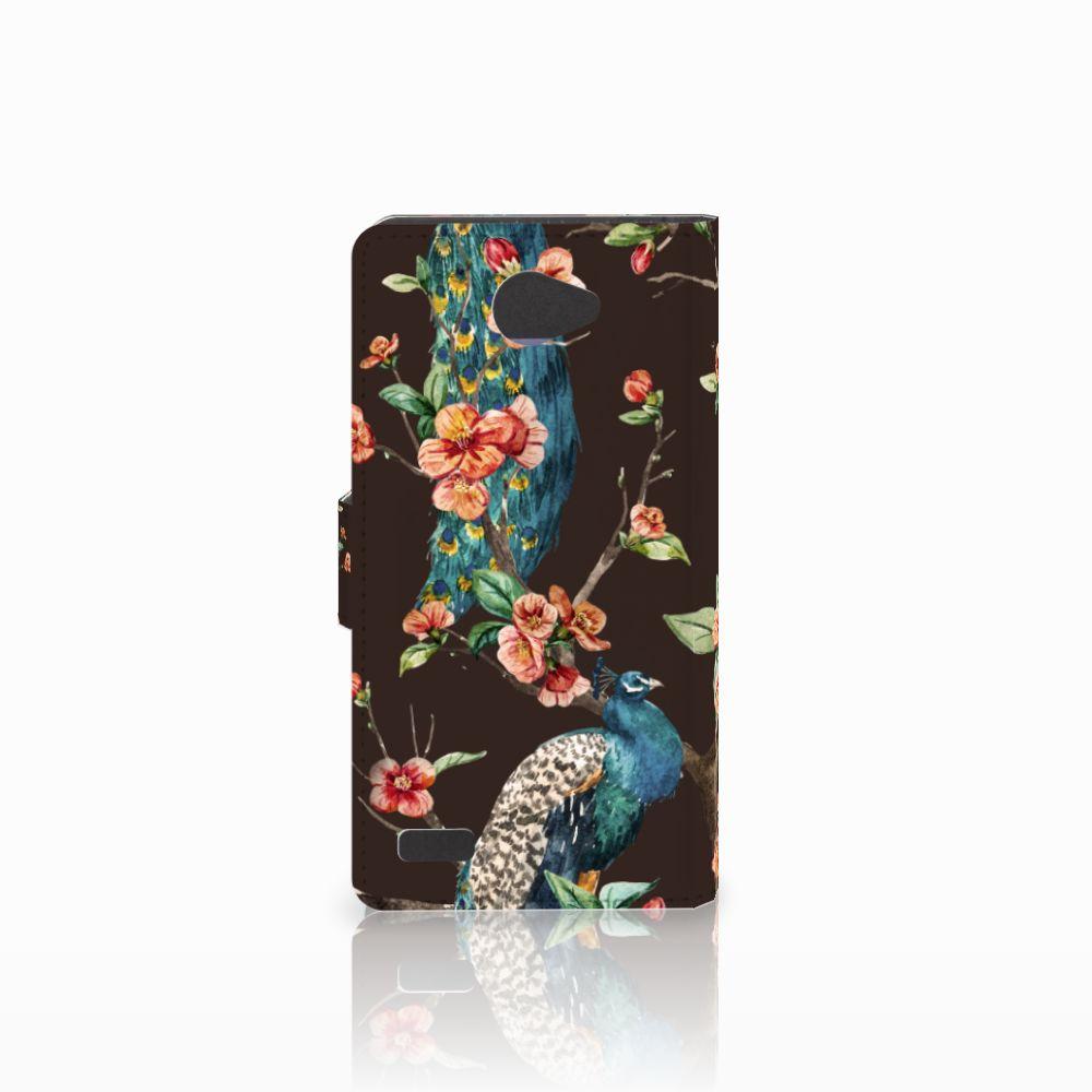 LG Bello 2 Telefoonhoesje met Pasjes Pauw met Bloemen