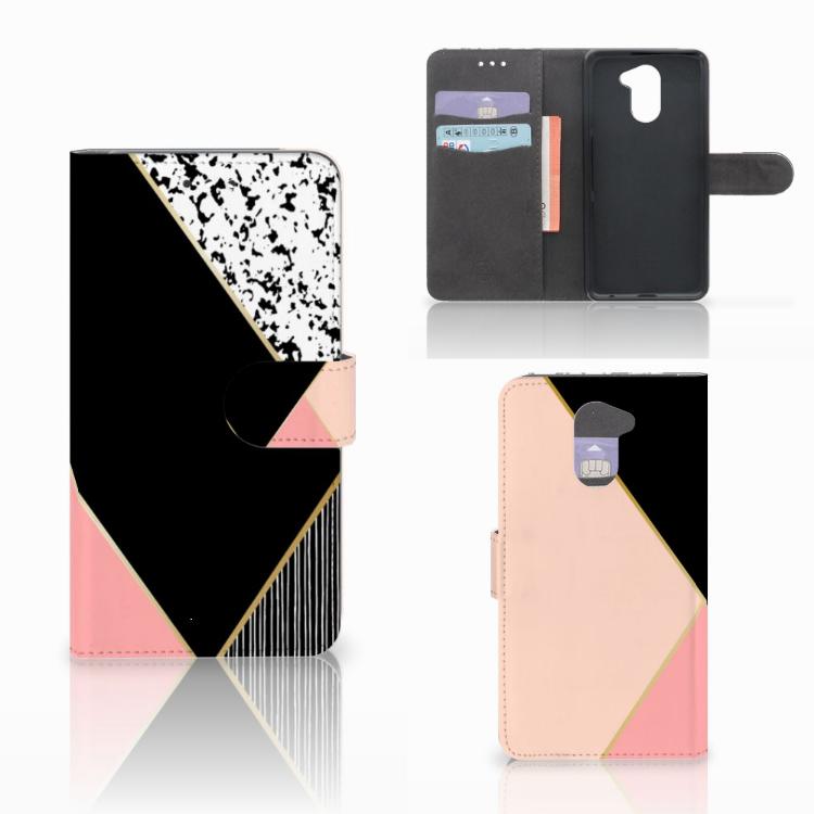 Huawei Y7 2017 | Y7 Prime 2017 Bookcase Zwart Roze Vormen