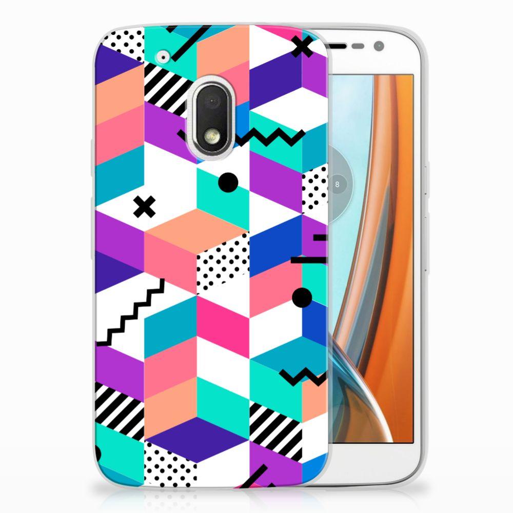 Motorola Moto G4 Play TPU Hoesje Blokken Kleurrijk