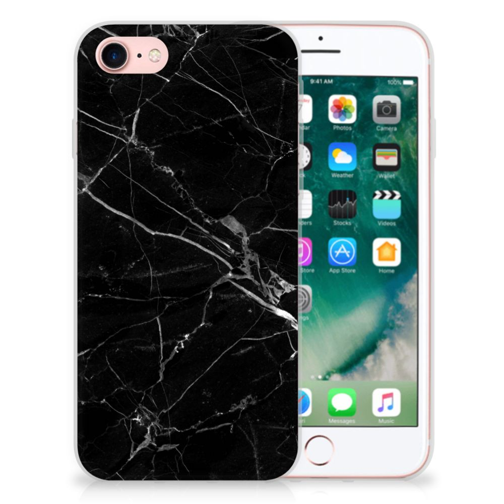 Apple iPhone 7 | 8 TPU Siliconen Hoesje Marmer Zwart