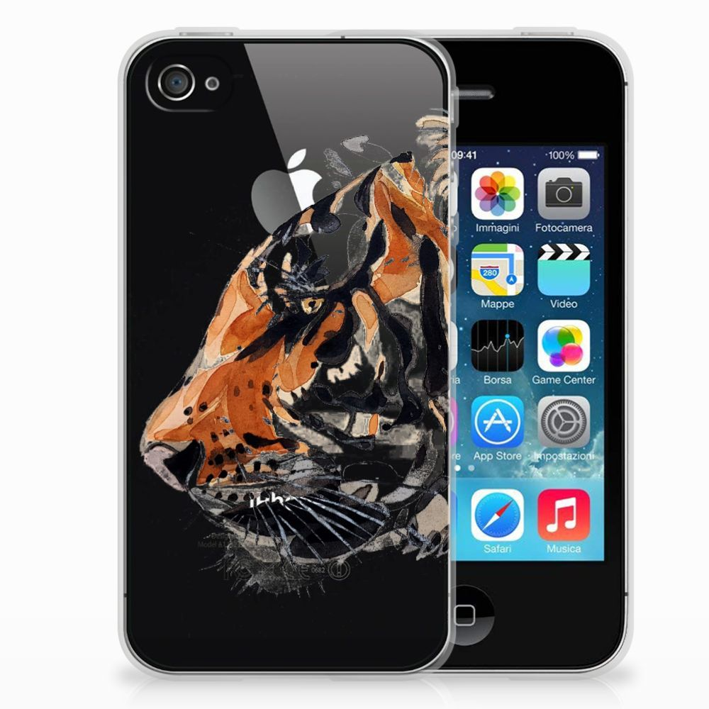 Apple iPhone 4 | 4s Uniek TPU Hoesje Watercolor Tiger
