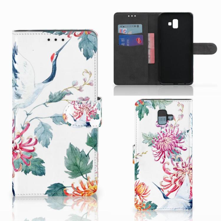Samsung Galaxy J6 Plus (2018) Telefoonhoesje met Pasjes Bird Flowers