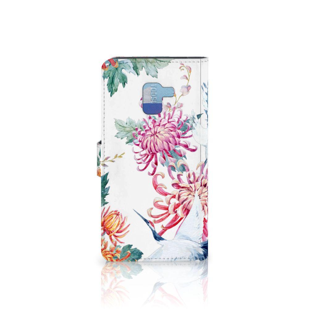Samsung Galaxy A8 Plus (2018) Telefoonhoesje met Pasjes Bird Flowers