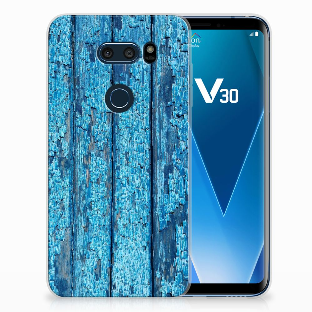 LG V30 Uniek TPU Hoesje Wood Blue