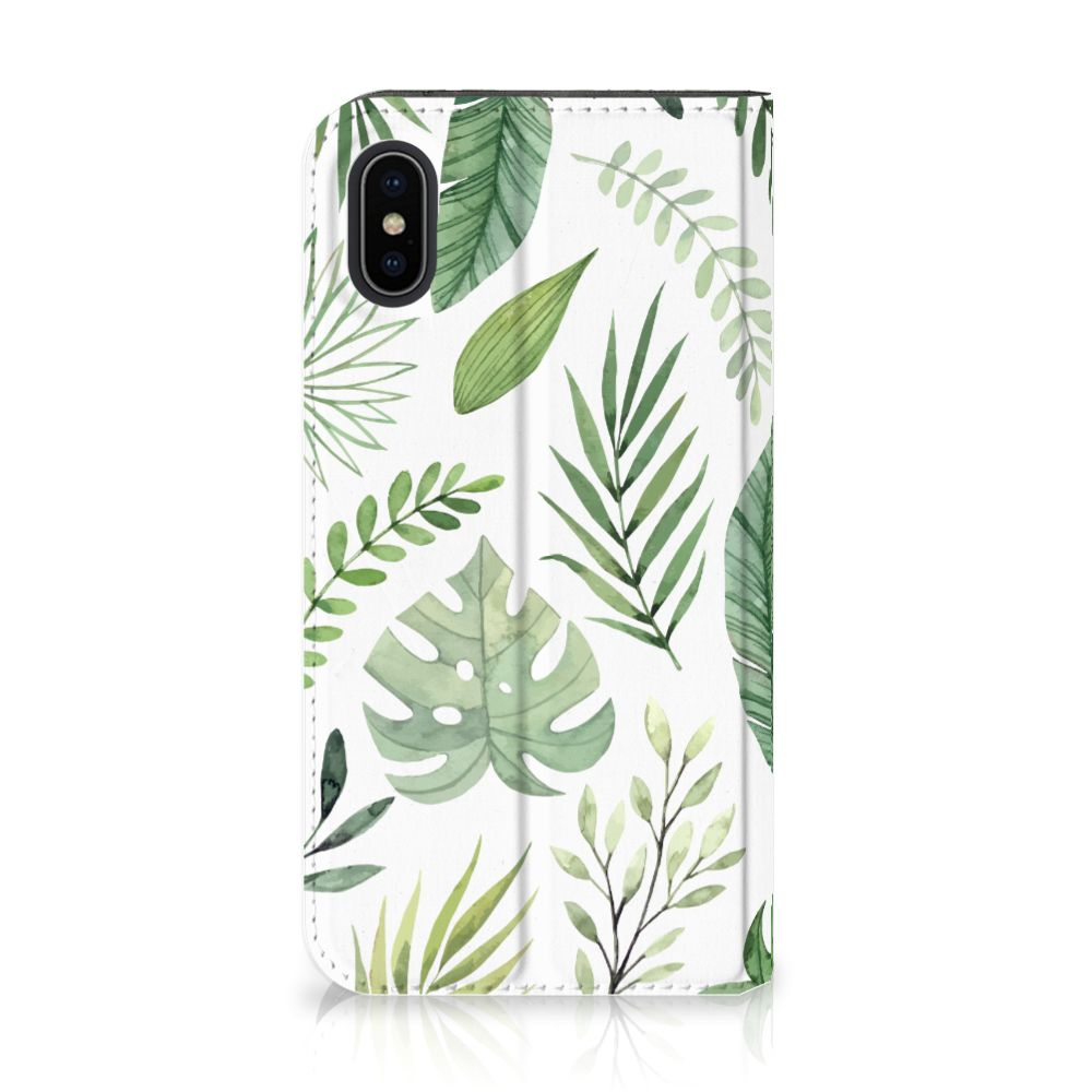Apple iPhone X | Xs Uniek Standcase Hoesje Leaves