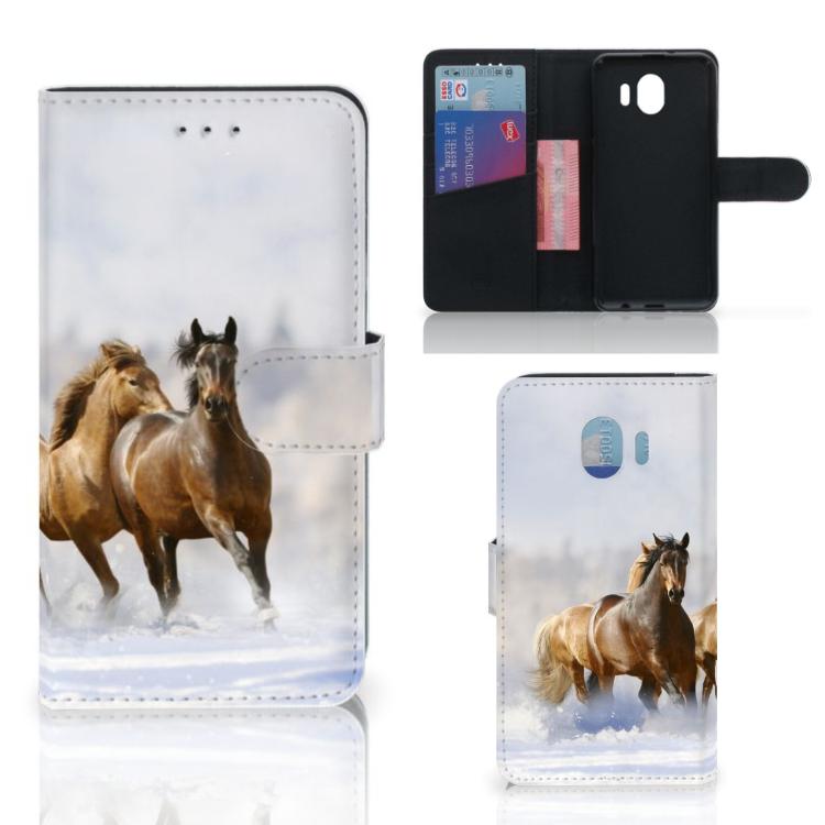 Samsung Galaxy J4 2018 Telefoonhoesje met Pasjes Paarden