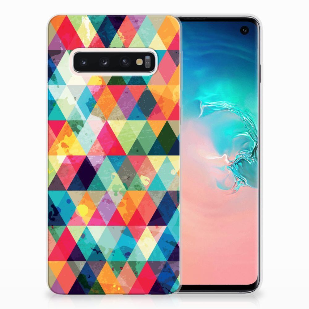 Samsung Galaxy S10 Uniek TPU Hoesje Geruit
