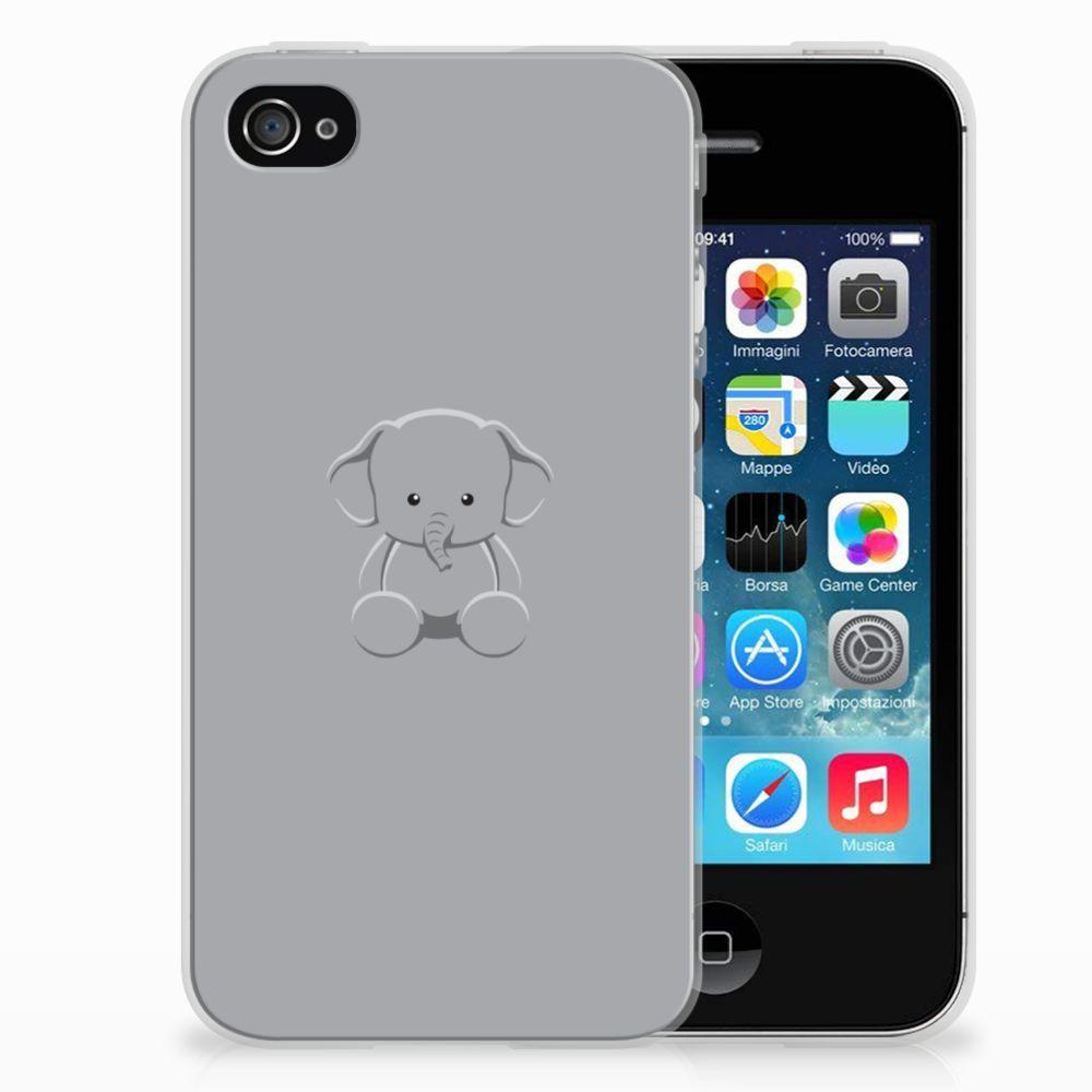 Apple iPhone 4   4s Telefoonhoesje met Naam Grijs Baby Olifant