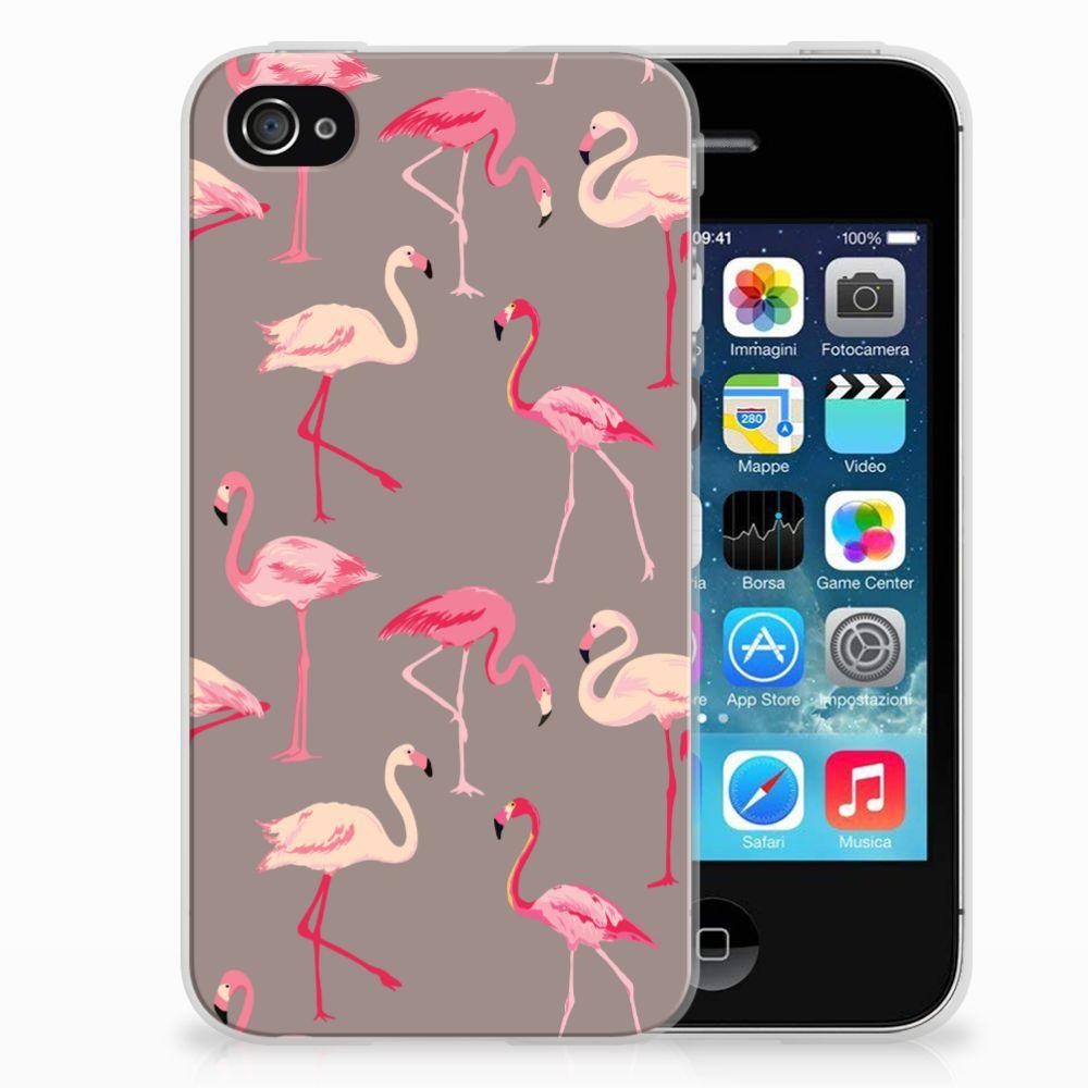 Apple iPhone 4 | 4s Uniek TPU Hoesje Flamingo