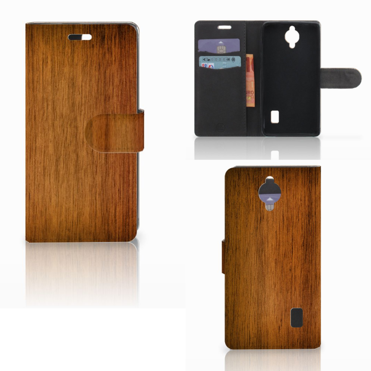 Huawei Y635 Book Style Case Donker Hout