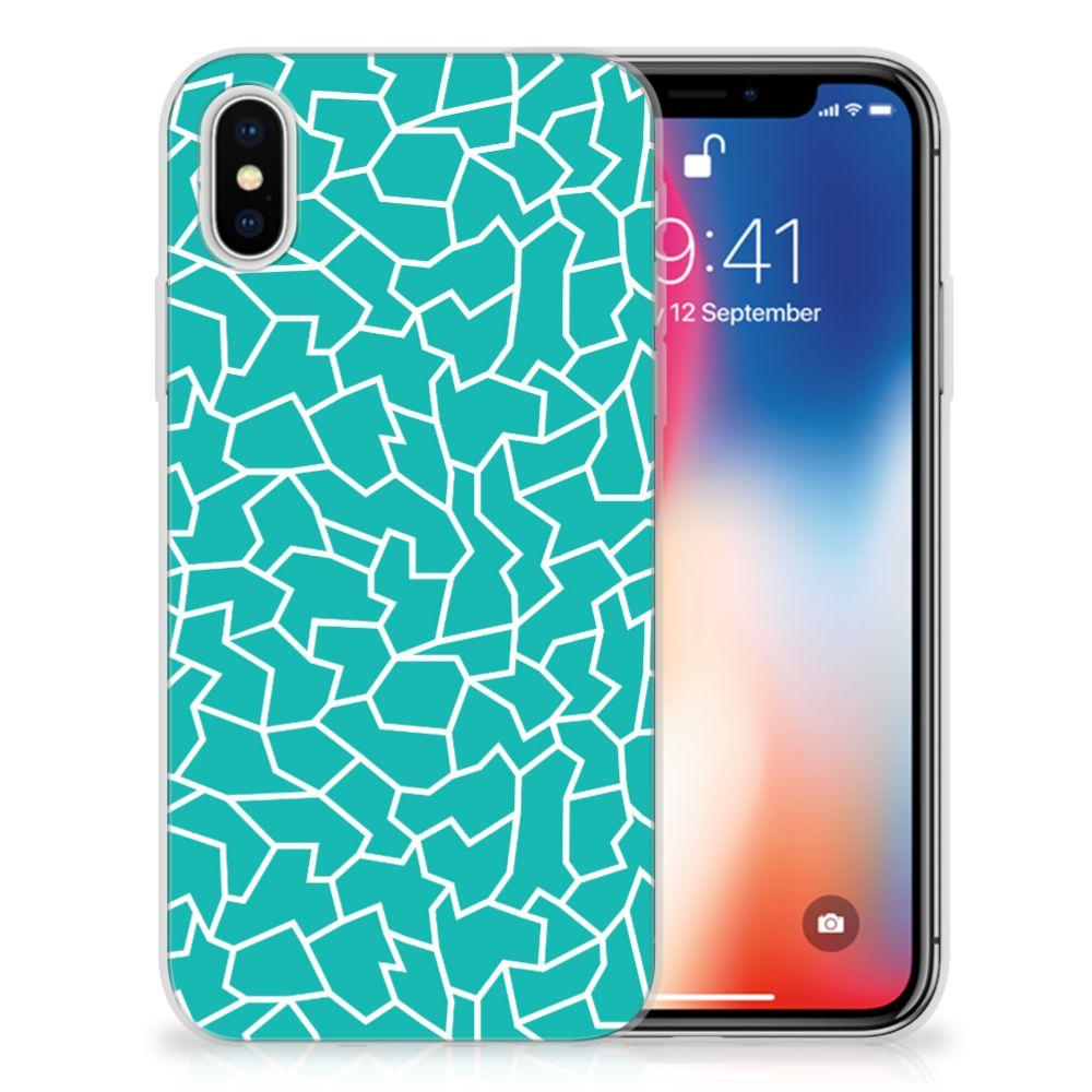 Apple iPhone X | Xs TPU Hoesje Design Cracks Blue