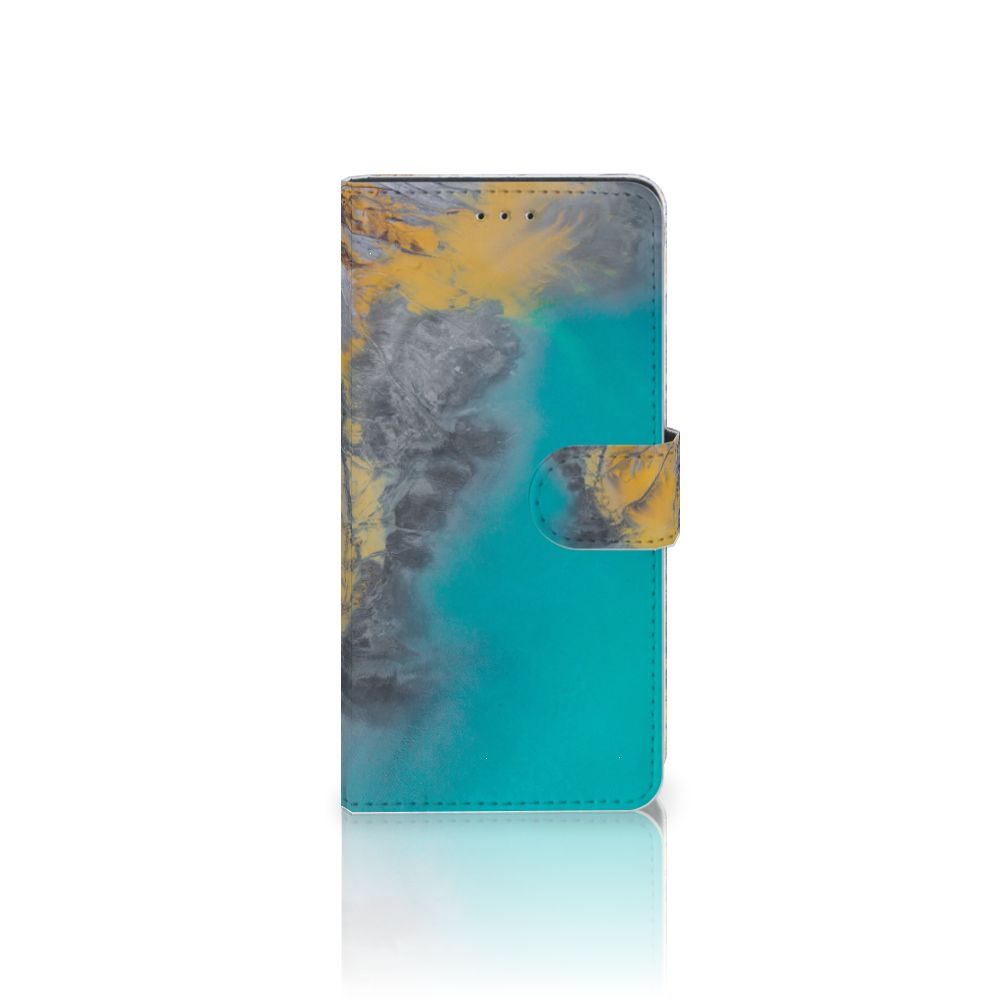 Motorola Moto Z2 Play Boekhoesje Design Marble Blue Gold