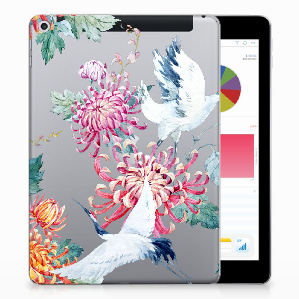 Apple iPad 9.7 2018 | 2017 Uniek Tablethoesje Bird Flowers