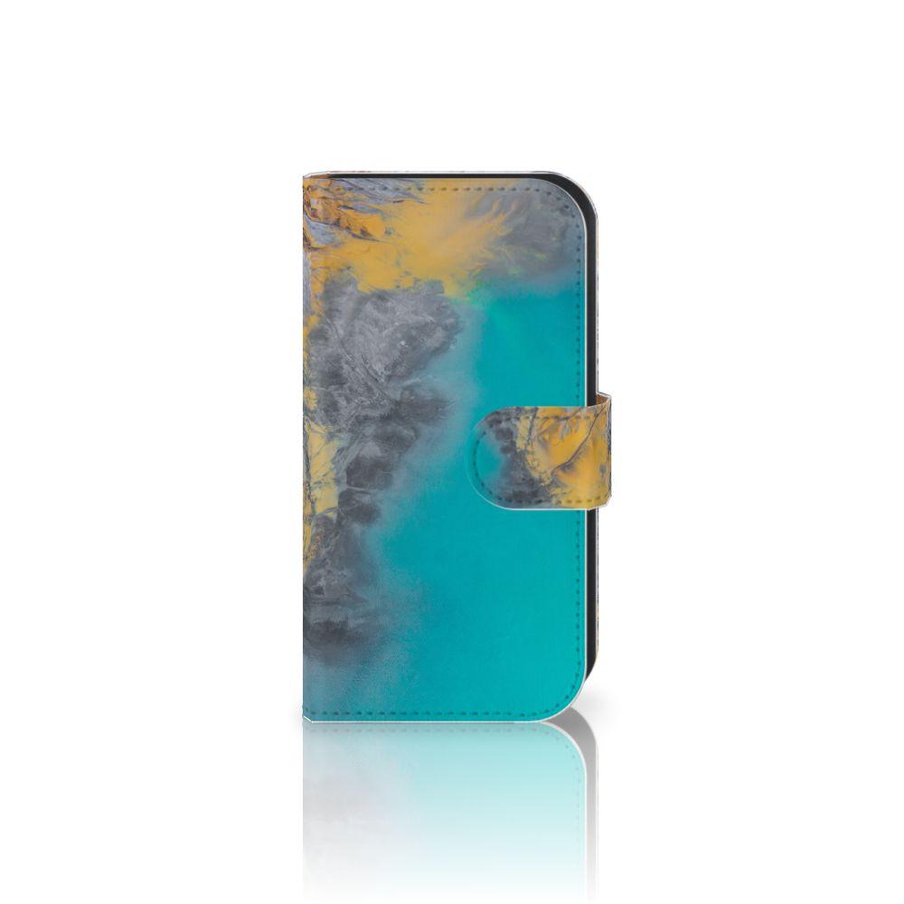 Samsung Galaxy Ace 4 4G (G357-FZ) Boekhoesje Design Marble Blue Gold