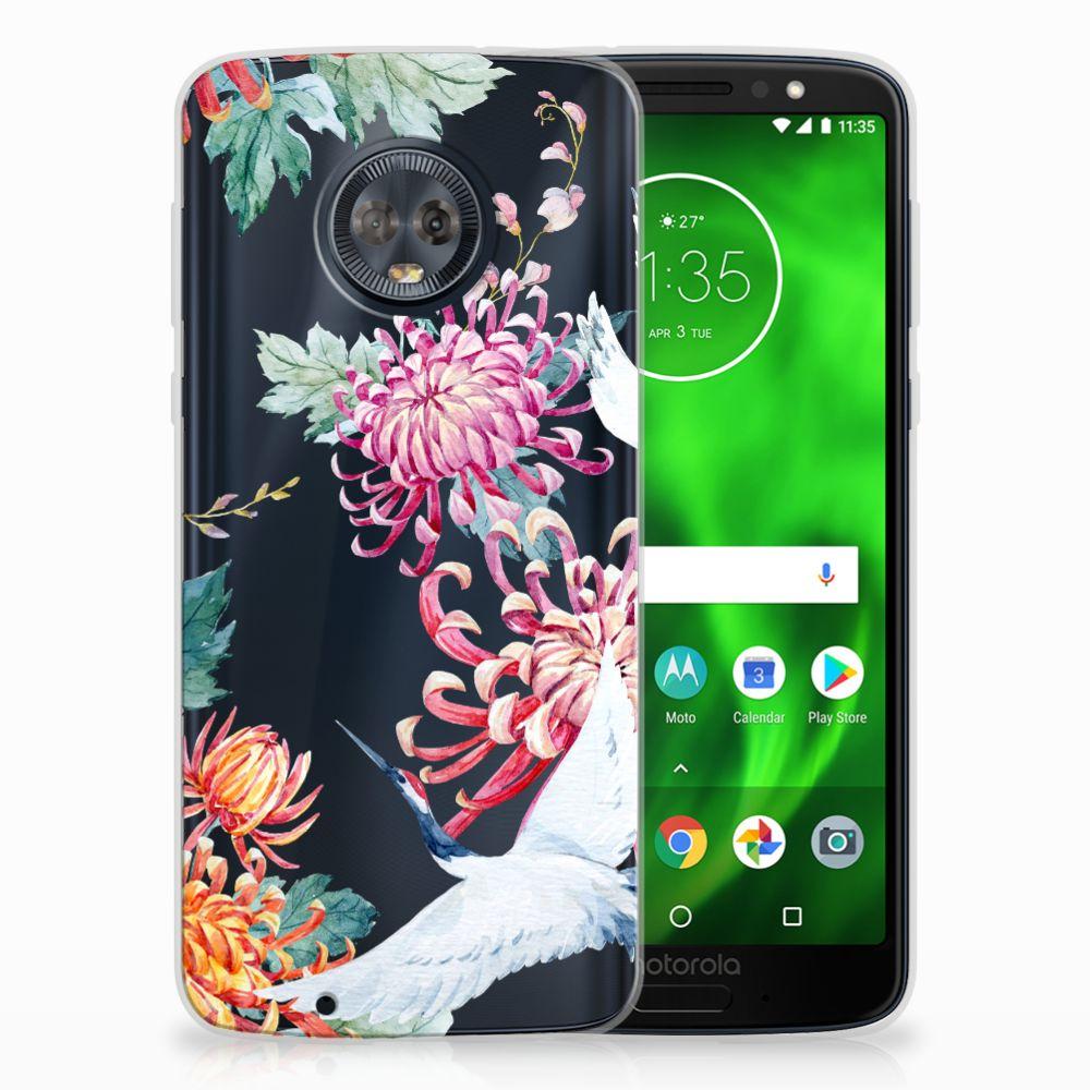 Motorola Moto G6 Uniek TPU Hoesje Bird Flowers