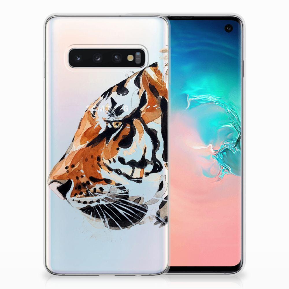 Hoesje maken Samsung Galaxy S10 Watercolor Tiger