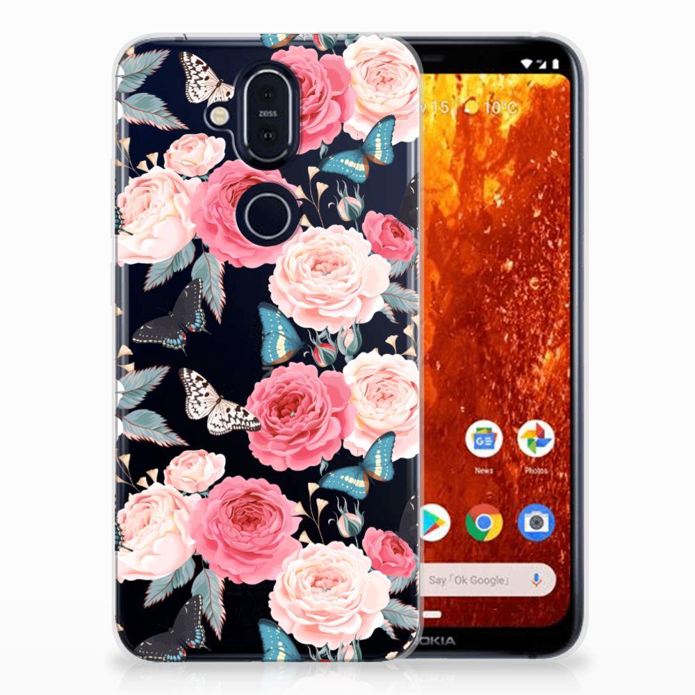 Nokia 8.1 Uniek TPU Hoesje Butterfly Roses