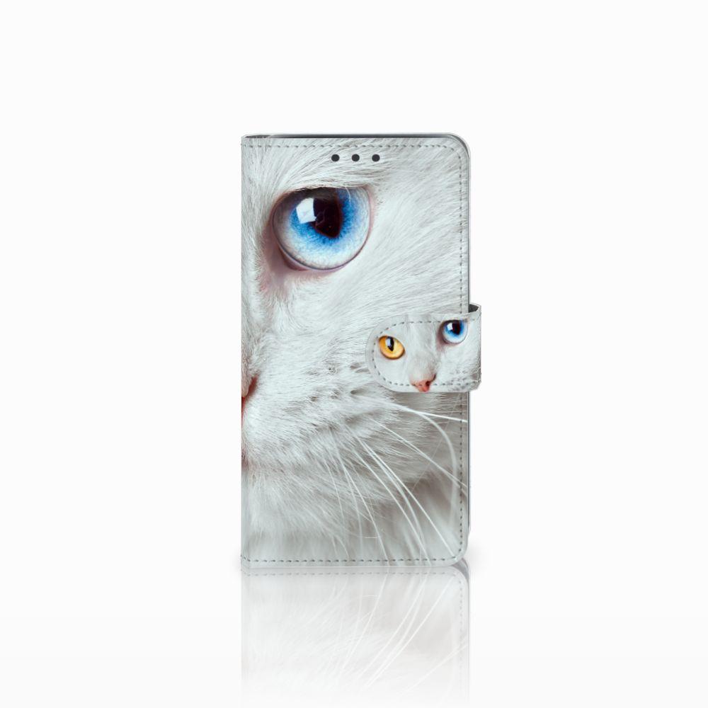 Samsung Galaxy J5 (2015) Telefoonhoesje met Pasjes Witte Kat