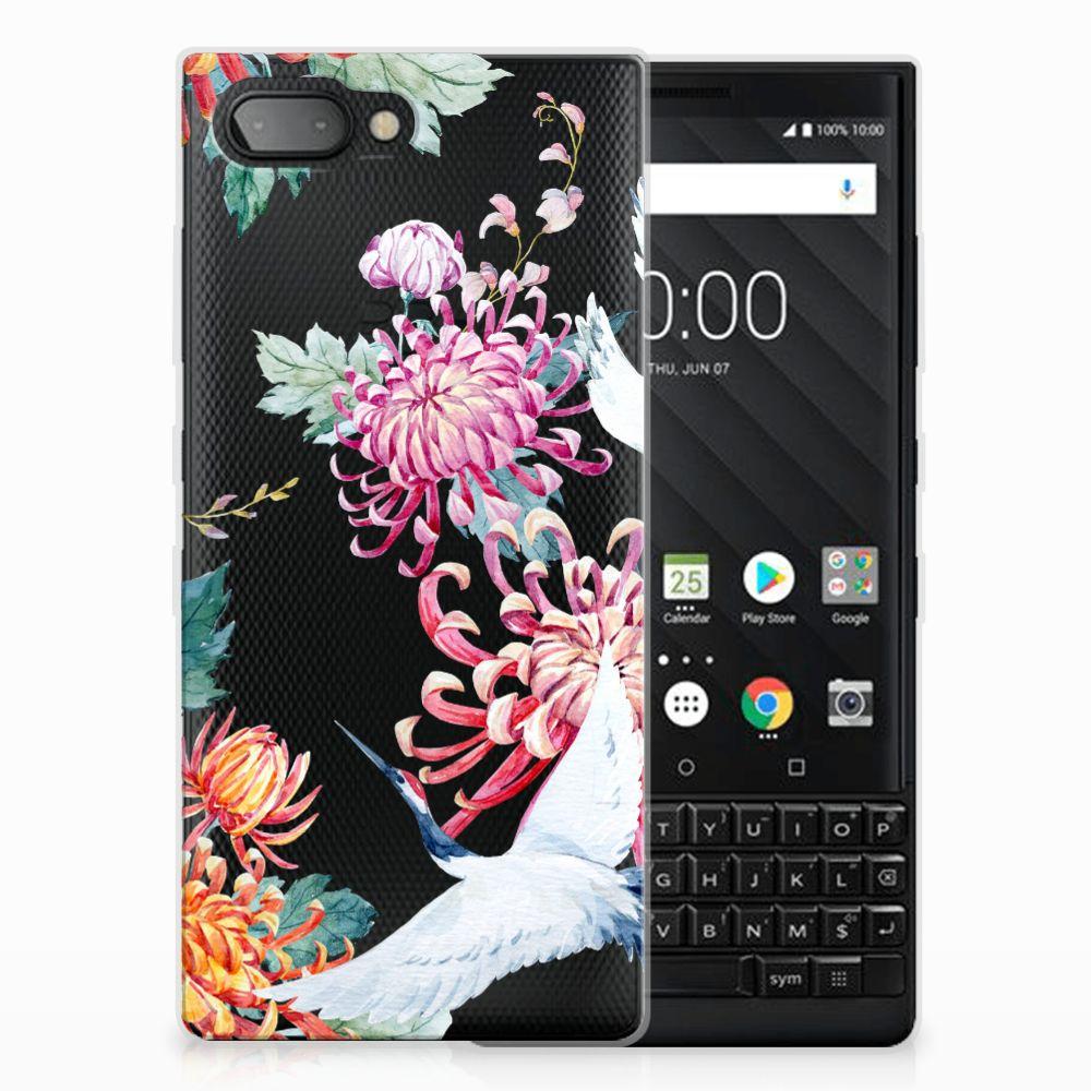BlackBerry Key2 Leuk Hoesje Bird Flowers
