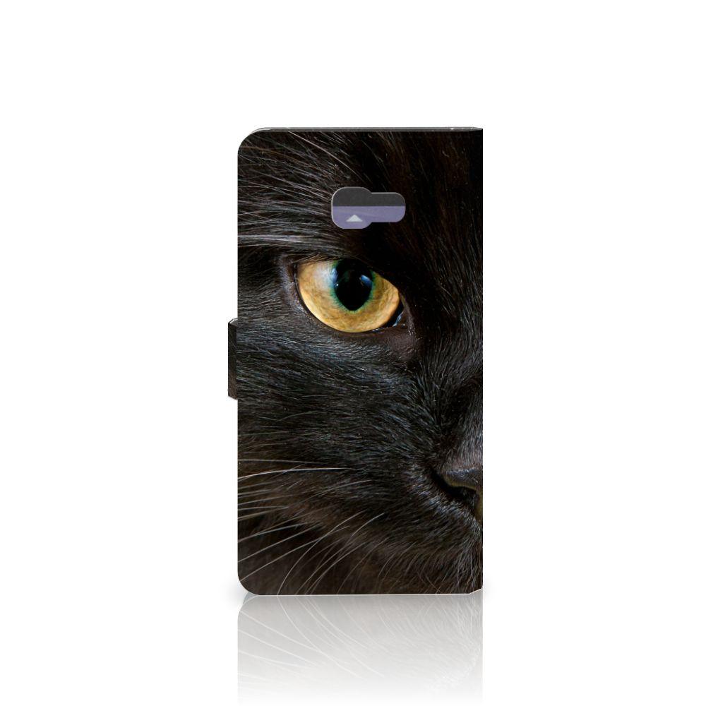 Samsung Galaxy A7 2017 Telefoonhoesje met Pasjes Zwarte Kat